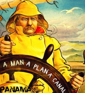 """Cartoon image of Theodore Roosevelt, wearing raincoat, at helm of """"Ship of state"""" 1902."""