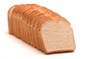 white bread split top isolated on white